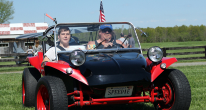 John D in his Black and Red Meyer Dune Buggy