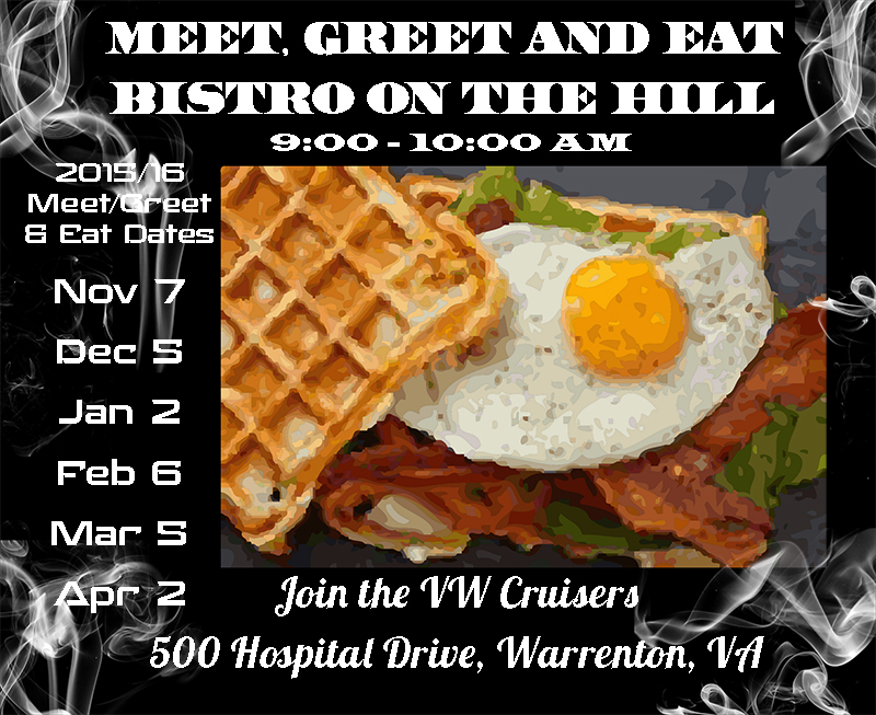 Meet, Greet & Eat - Bistro on the Hill - First Saturdays at 9:00 am